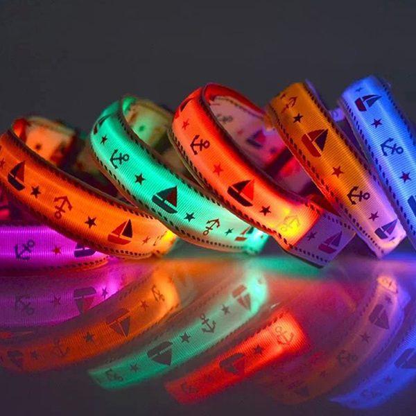 Stylish Star Sailing Boat Pattern LED Luminous Night Walk Collar For Dogs