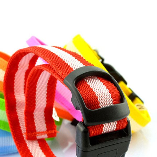 Novelty Stripe Design LED Flashing Night Walk Collar For Pet Dogs