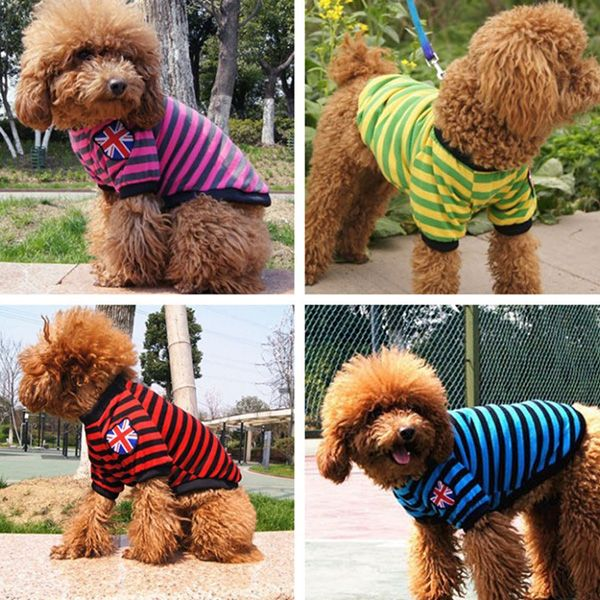 Fashion Striped Design The British Flag Embellished T-Shirt For Dogs