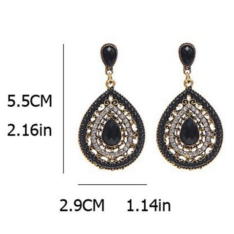 Pair of Ethnic Teardrop Faux Gem Beads Earrings