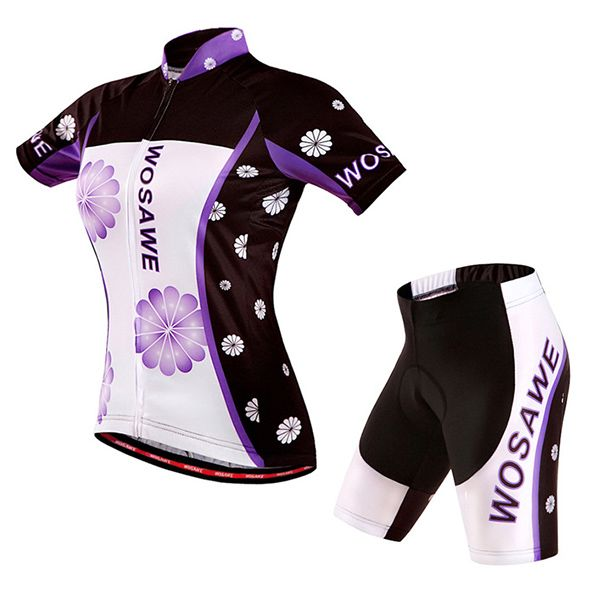 Professional Violet Pattern Short Sleeve Jersey + Shorts Outdoor Cycling Suits For Women
