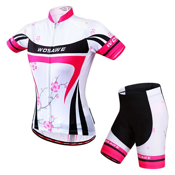 Fashion Plum Blossom Pattern Short Sleeve Jersey + Shorts Outdoor Cycling Suits For Women