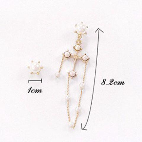 Cross Faux Pearl Gold Plated Earrings