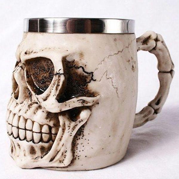 Creative 3D Skeleton Design Resin Shell Stainless Steel  Mug