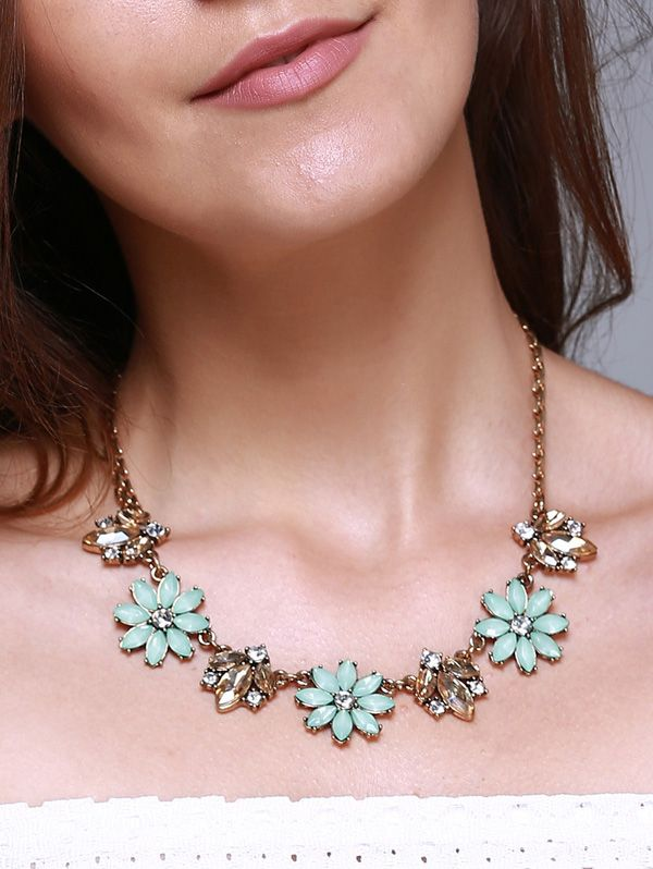 Retro Faux Gem Alloy Floral Necklace