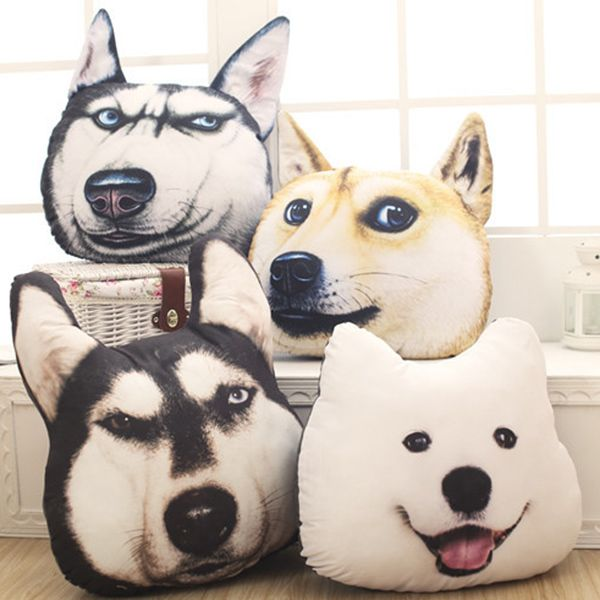 Creative 3D Huskie Home Decoration Dog Shape Design Pillow