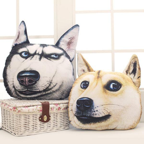 Creative 3D Blue Eyes Huskie Home Decoration Dog Shape Design Pillow
