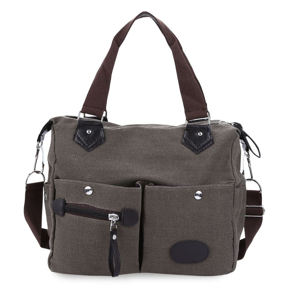 Large Capacity Women Casual Style Canvas Tote Belt Decoration Shoulder Bag