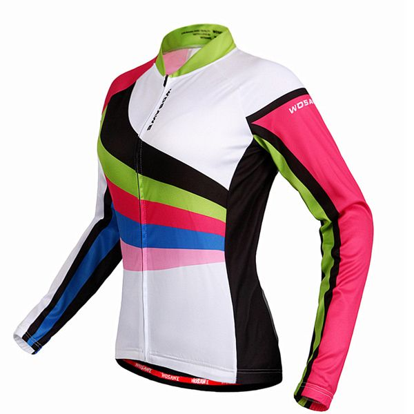Multi-Colored Breathable Long Sleeve Jersey + Pants Outdoor Cycling Suits For Women