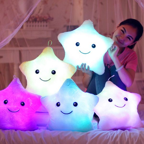 Creative Lucky Star Shape Gift Luminous Smiling Face Musical Pillow