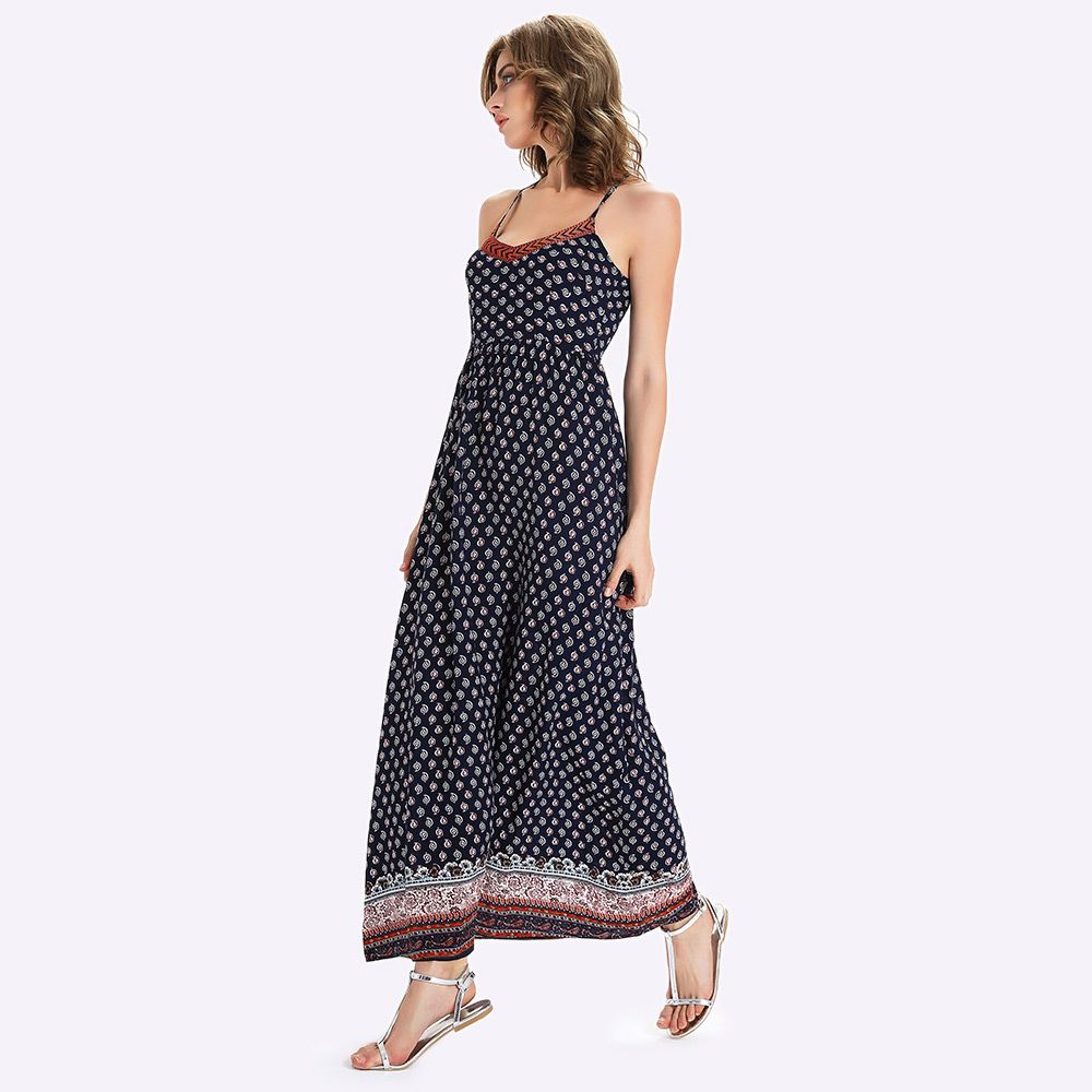 Long Printed Boho Slip Dress