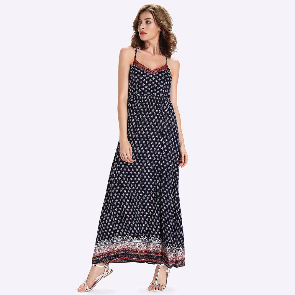 Long Printed Boho Slip Dress