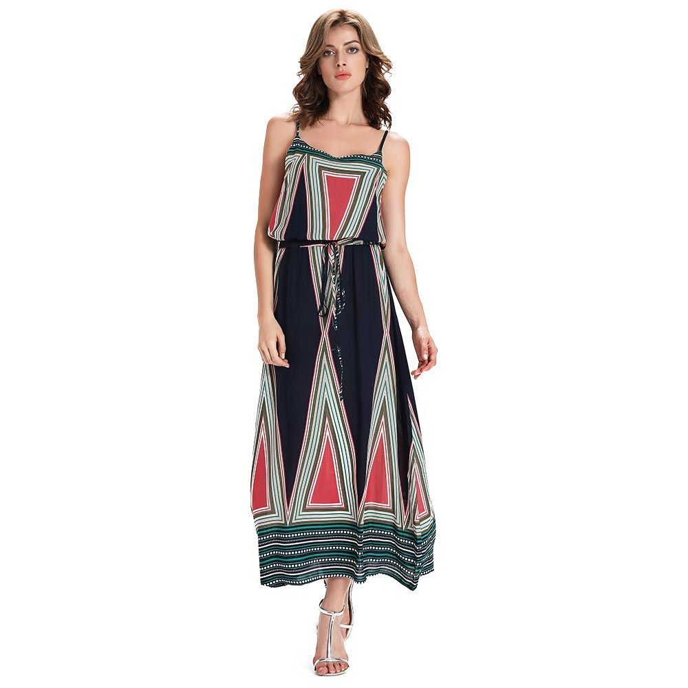 Stylish Spaghetti Strap Geometric Print Women's Dress