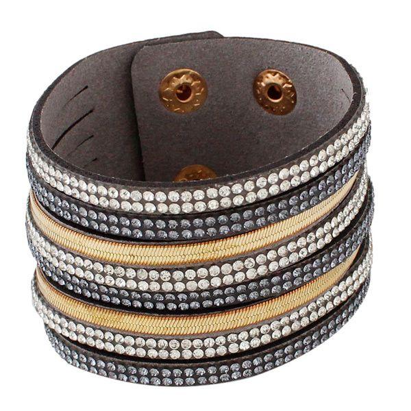 Vintage Layered Faux Leather Rhinestone Bracelet