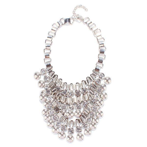 Alloy Silver Bubble Rhinestone Necklace