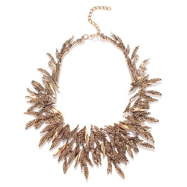 Chunky Alloy Leaf Necklace