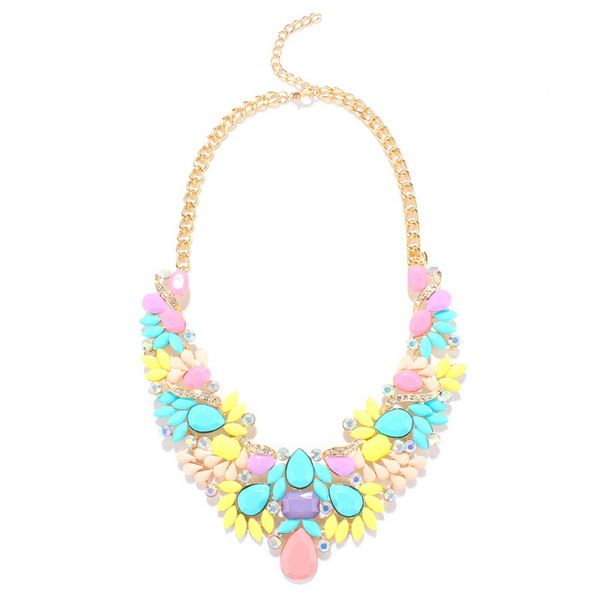 Chunky Water Drop Artificial Gem Necklace
