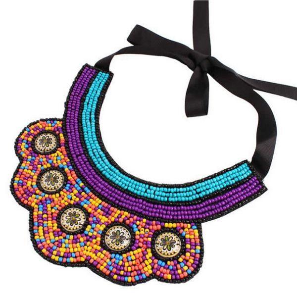 Ethnic Style Resin Layered Bib Necklace