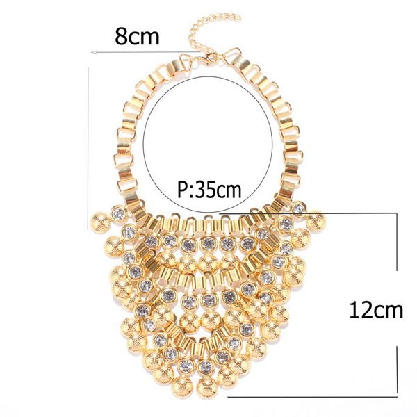 Statement Bead Rhinestone Necklace