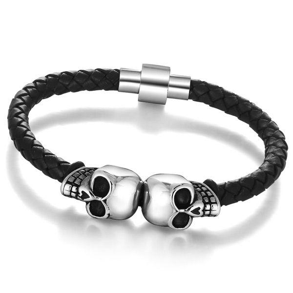 Vintage Artificial Leather Skull Woven Rope Bracelet