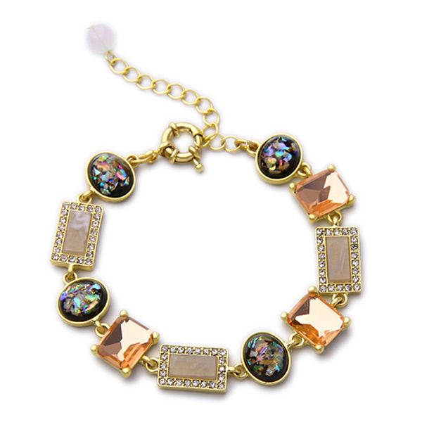 Rhinestone Faux Gem Geometric Bracelet