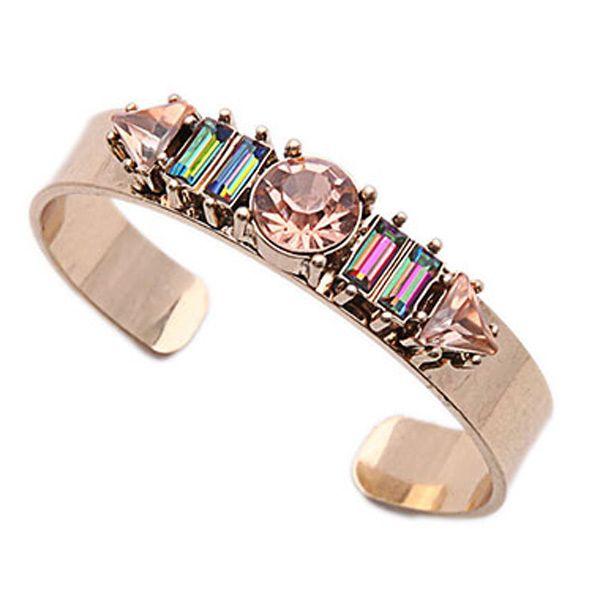 Rhinestone Geometric Cuff Bracelet