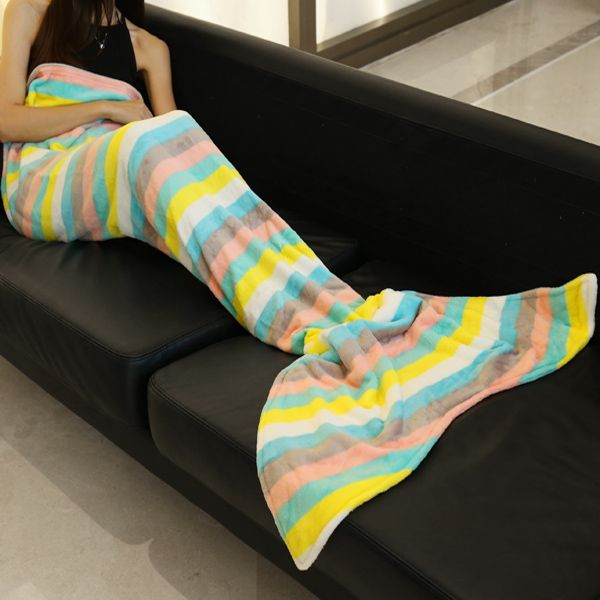 Trendy Multicolor Stripes Pattern Mermaid Tail Style Casual Soft Blanket