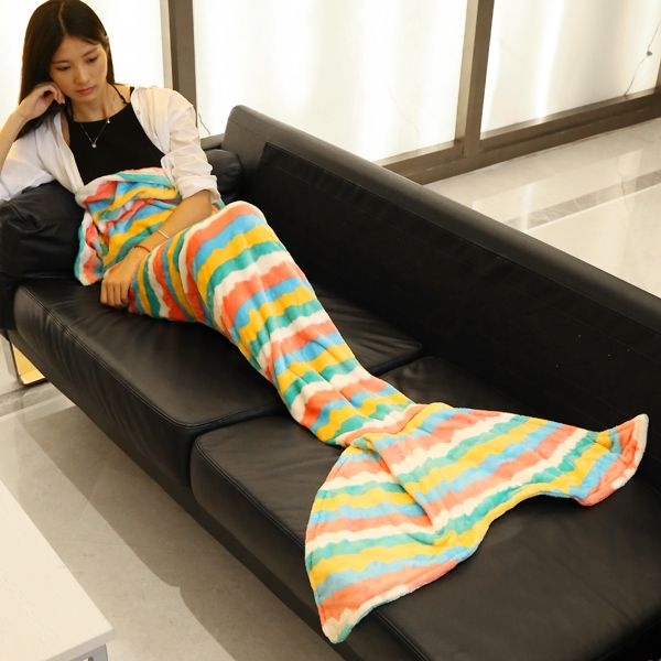 Trendy Multicolor Wavy Stripes Pattern Mermaid Tail Style Casual Soft Blanket