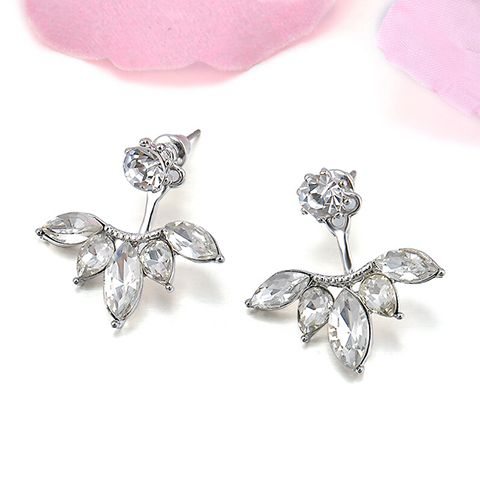 Pair of Alloy Rhinestone Flower Embellished Earrings