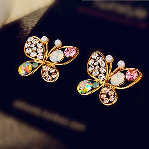 Pair of Rhinestone Fake Pearl Butterfly Earrings