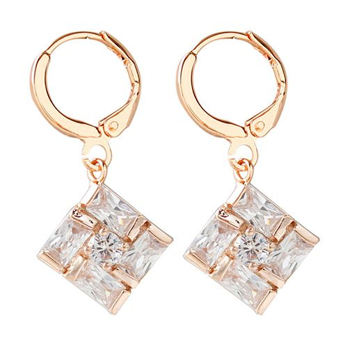 Pair of Alloy Faux Crystal Square Drop Earrings
