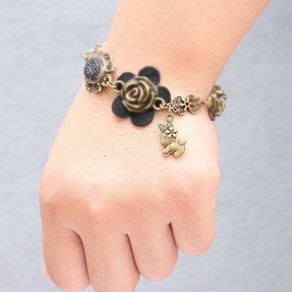 Vintage Rose Rabbit Shape Charm Bracelet