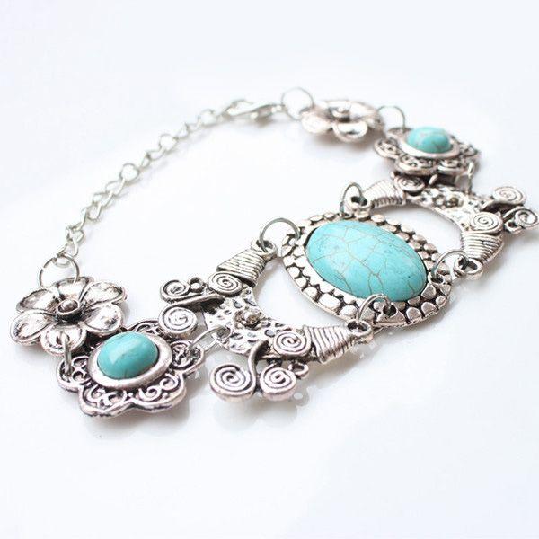Bohemian Style Faux Turquoise Floral Bracelet