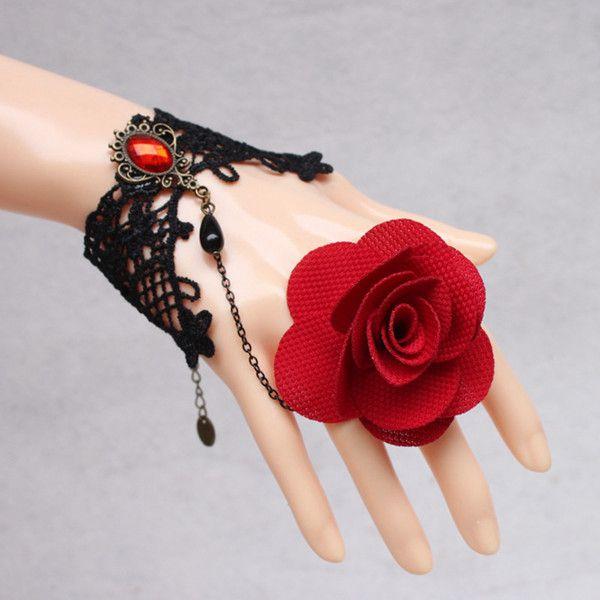 Vintage Faux Gem Floral Bracelet With Ring