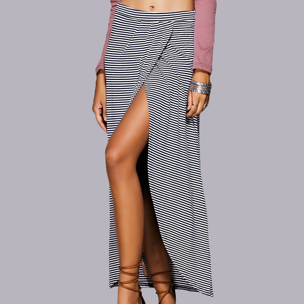 Striped Maxi Skirt With High Slit