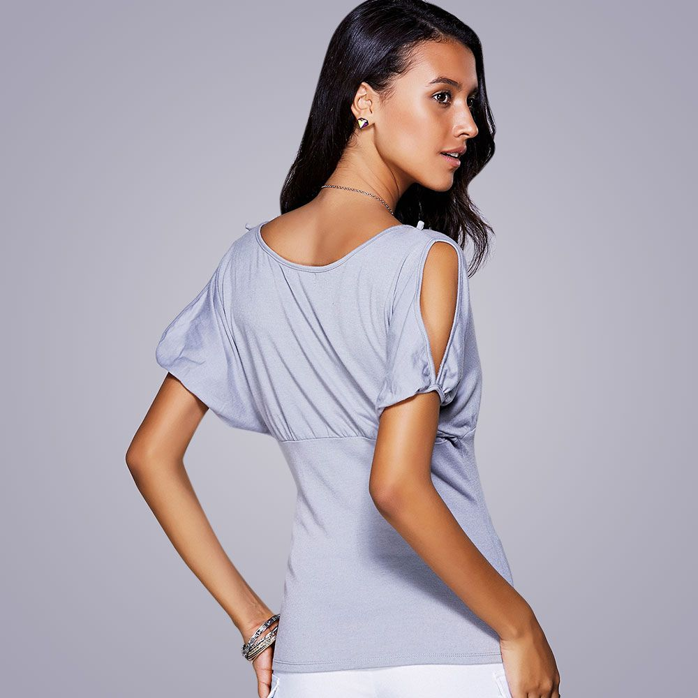 Casual Scoop Neck Cold Shouder T-Shirt For Women