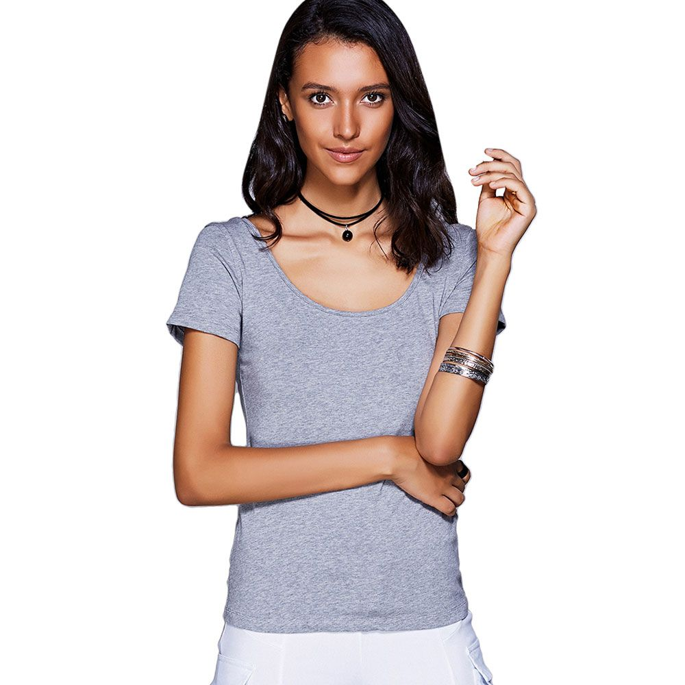 Casual Scoop Neck Cut Out Bowknot T-Shirt For Women