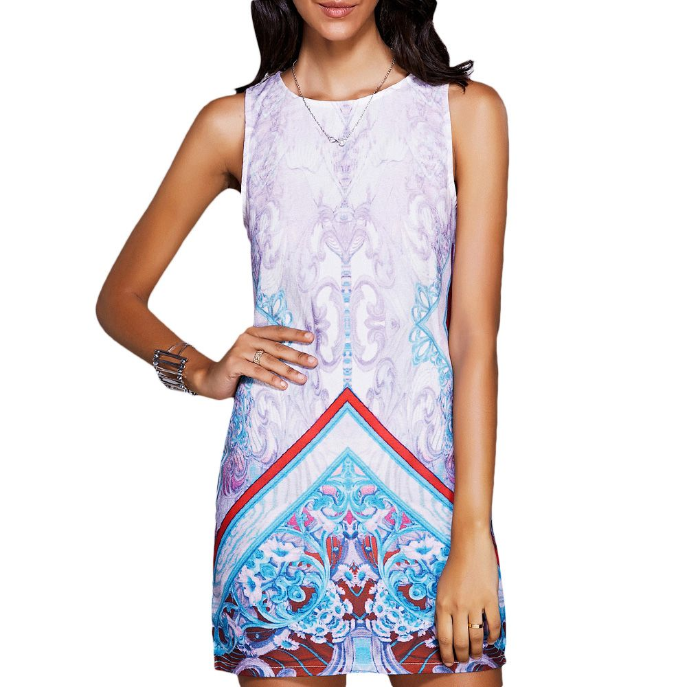 Stylish Round Neck Sleeveless Print Mini Dress For Women
