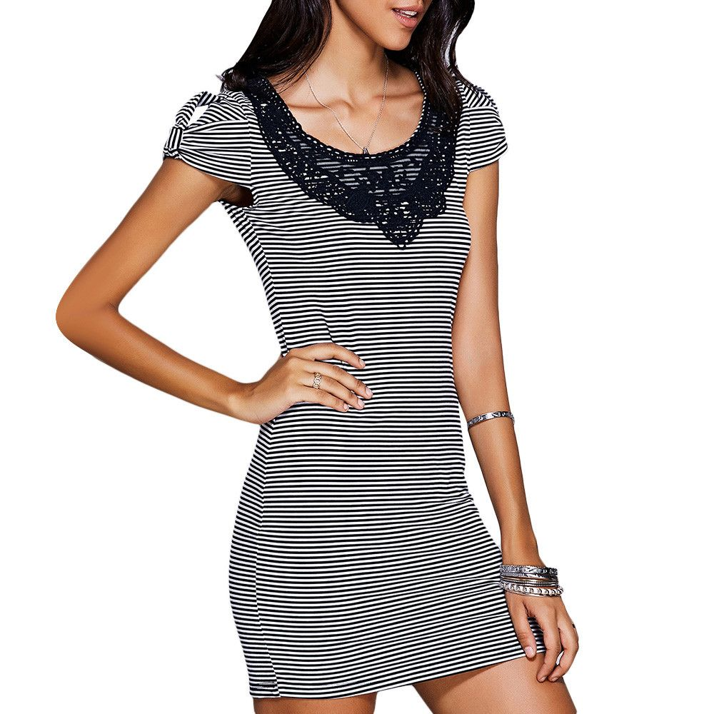 Stylish Scoop Neck Lace Panelled Striped Dress For Women