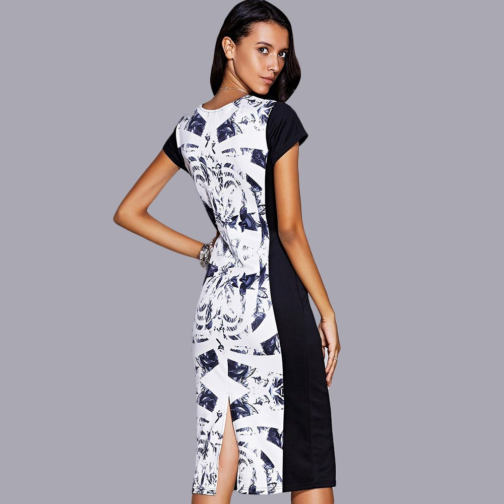 Elegant Jewel Neck Short Sleeve Print Midi Dress For Women