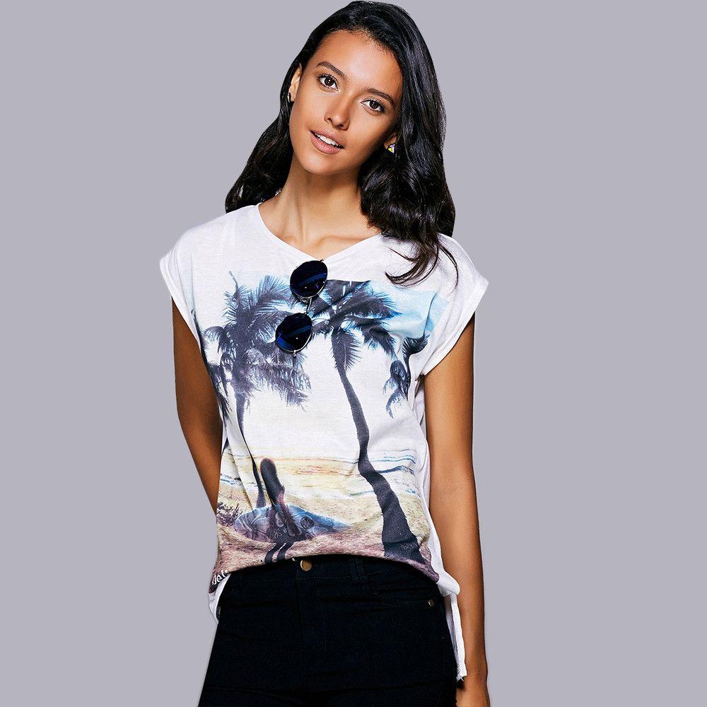 Casual Short Sleeves Print Slit T-Shirt For Women