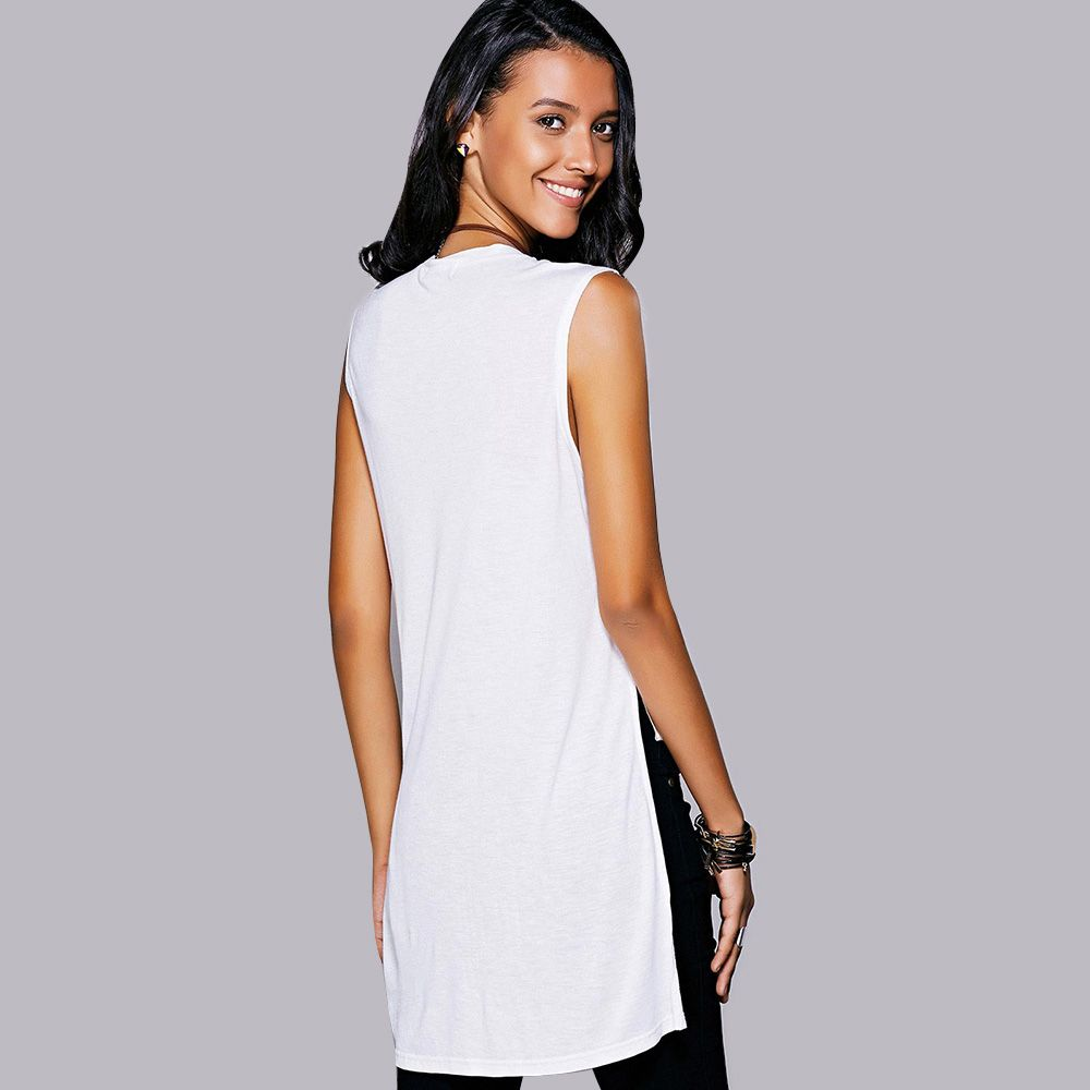 Casual Jewel Neck Slit High Low Top For Women