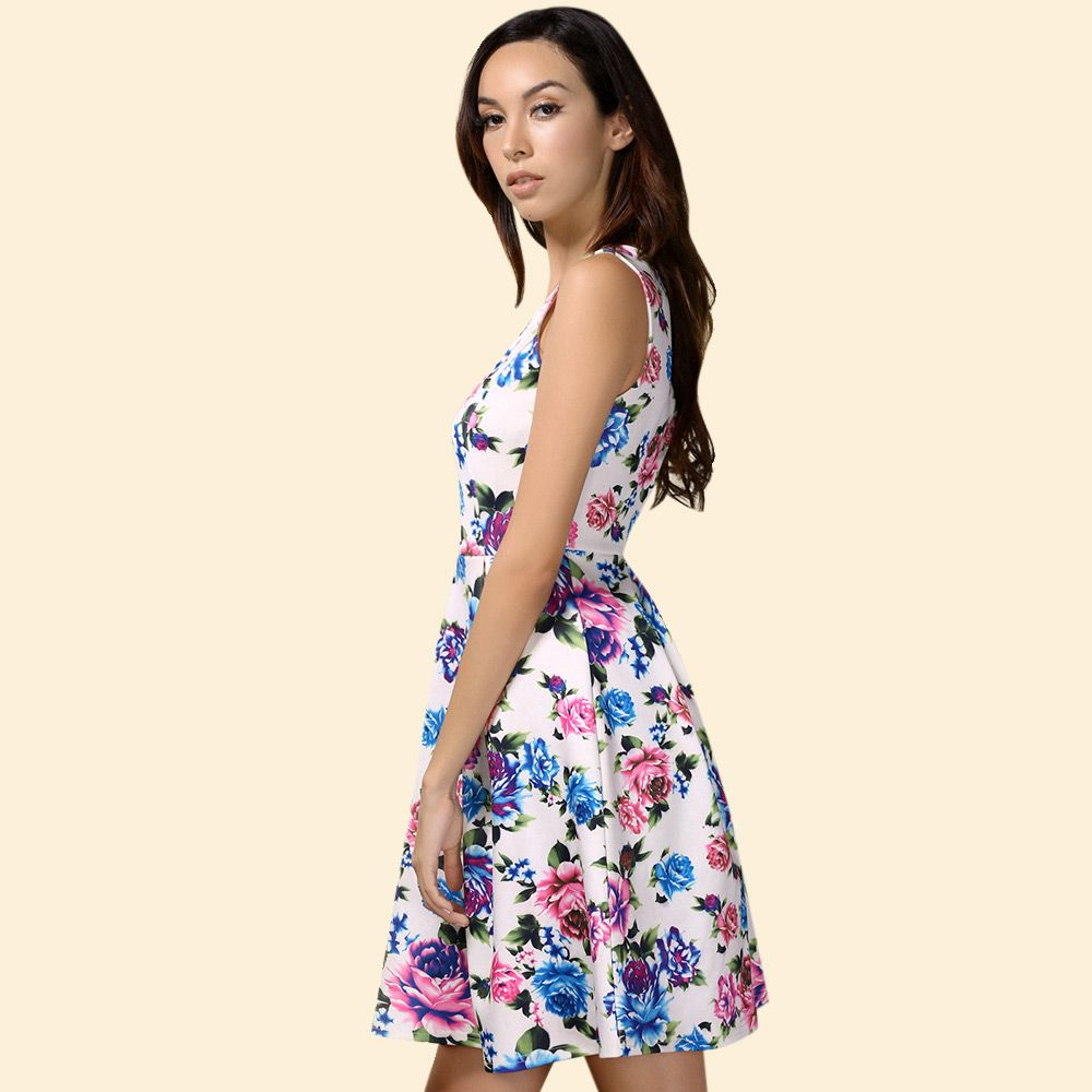 Retro Style High Waisted Floral Print Dress