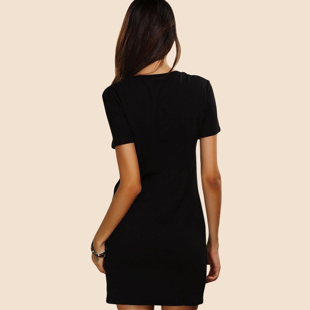 Short Sleeve Print Casual T-Shirt Dress