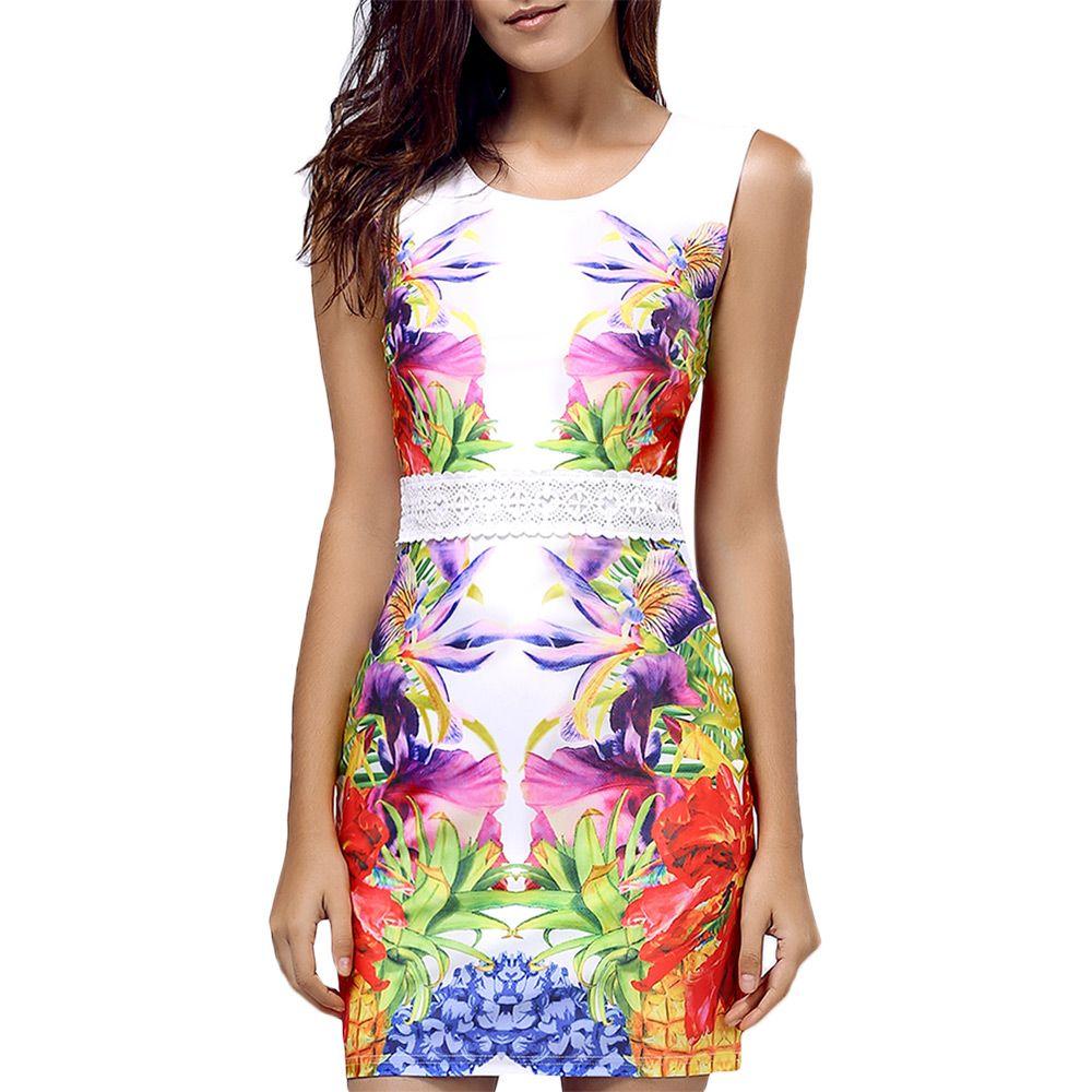 Sweet Sleeveless Lace Waist Floral Print Women's Dress