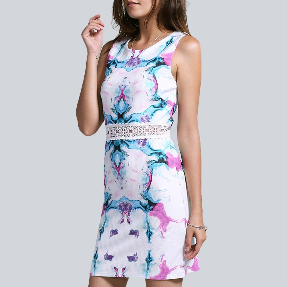 Sweet Sleeveless Hollow Out Waist Floral Print Women's Dress