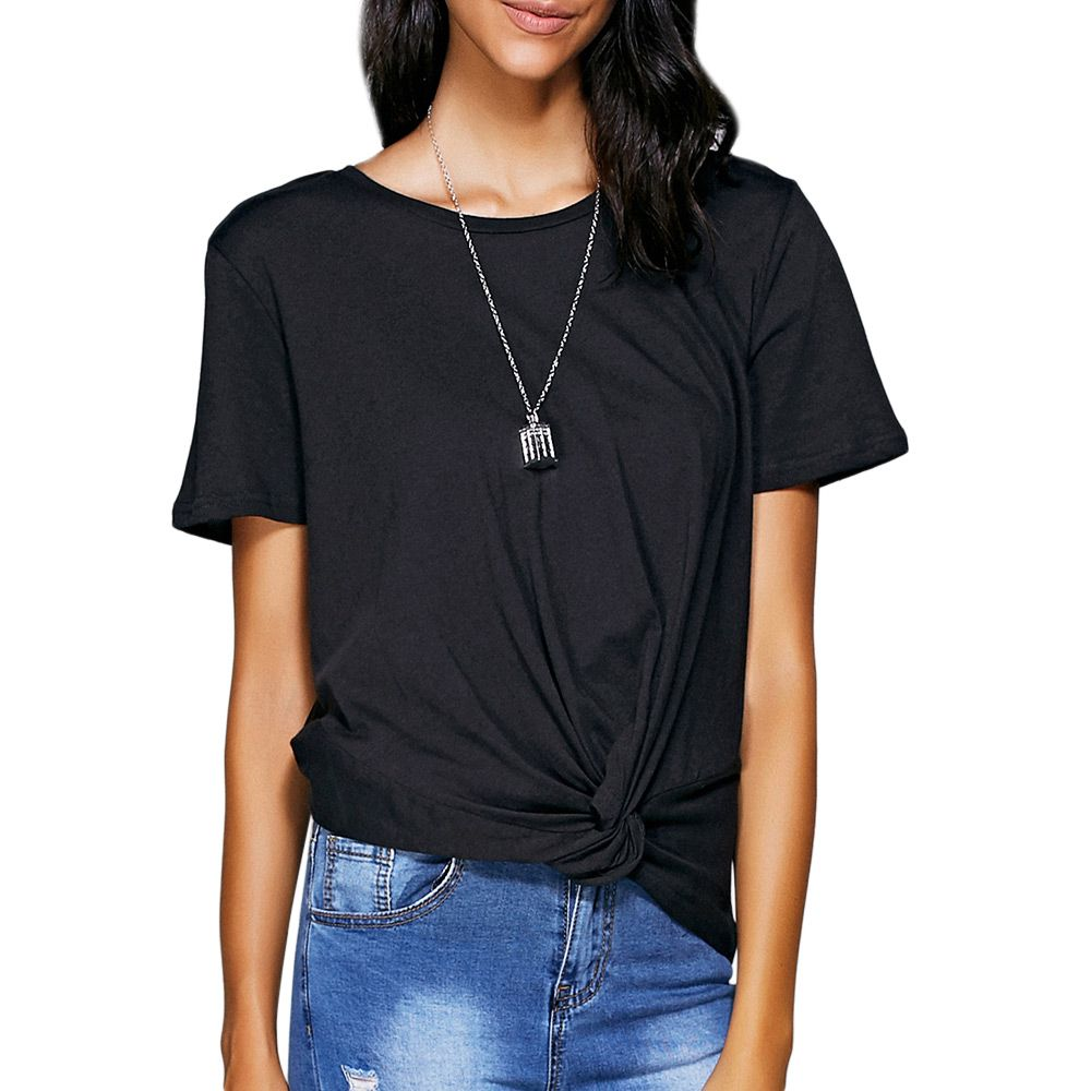 Casual Round Neck Black Knot T-Shirt For Women
