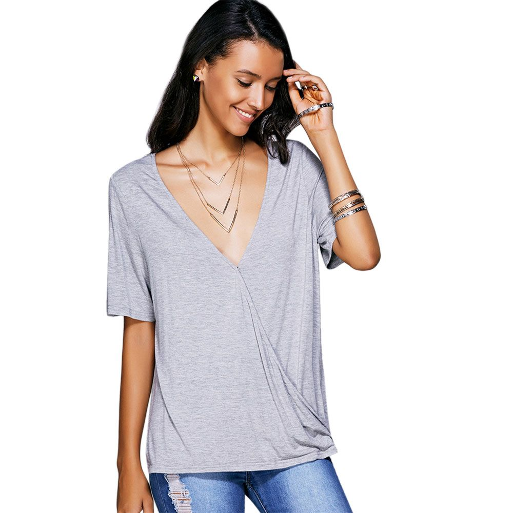 Casual Plunging Neck Solid Color Wrap T-Shirt For Women