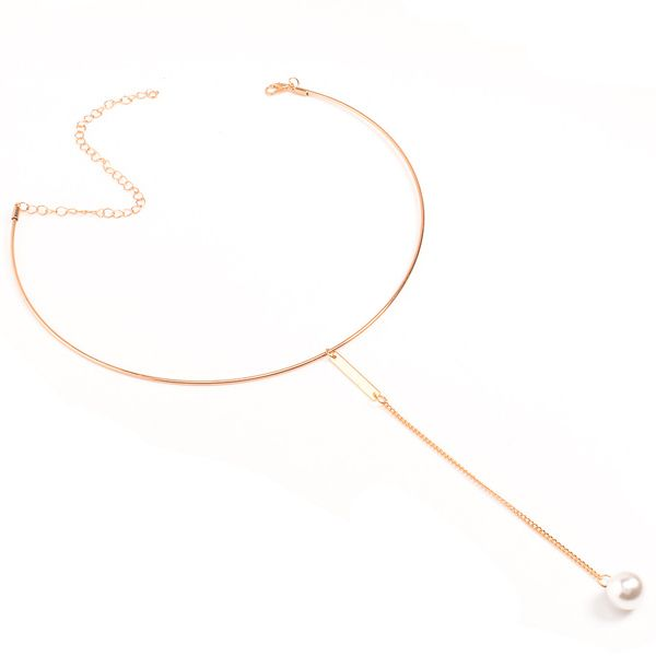 Faux Pearl Bar Alloy Necklace