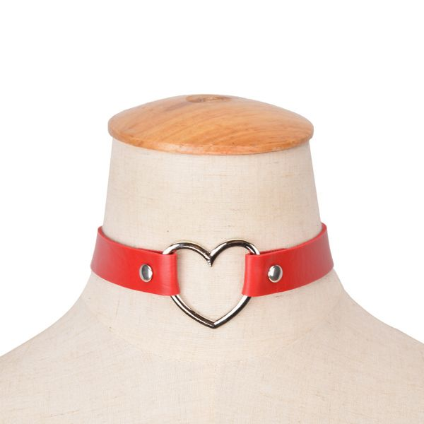 PU Leather Heart Choker Necklace